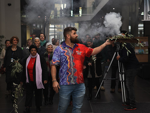 Smoking ceremony to mark the start of Reconciliation Week