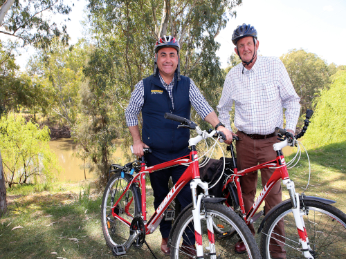 Deputy Premier John Barilaro and City of Wagga Wagga Councillor Greg Conkey OAM don helmets to lead a historic ride down the Levee Link.