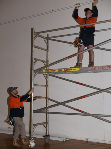 REACHING NEW HEIGHTS: The lighting upgrade is progressing smoothly inside the Wagga Wagga Art Gallery.