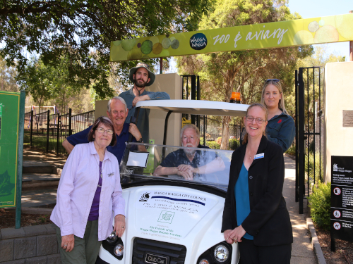 ZOOM ZOOM: The Friends of the Wagga Wagga Botanic Gardens representatives Irene (front left) and Bill Toal (centre) handed over the new electric utility vehicle to Wagga Wagga City Council's Mayor Cr Greg Conkey OAM, Louis Reid, Kira McBeath and Director Corporate Services Natalie Te Pohe this week.