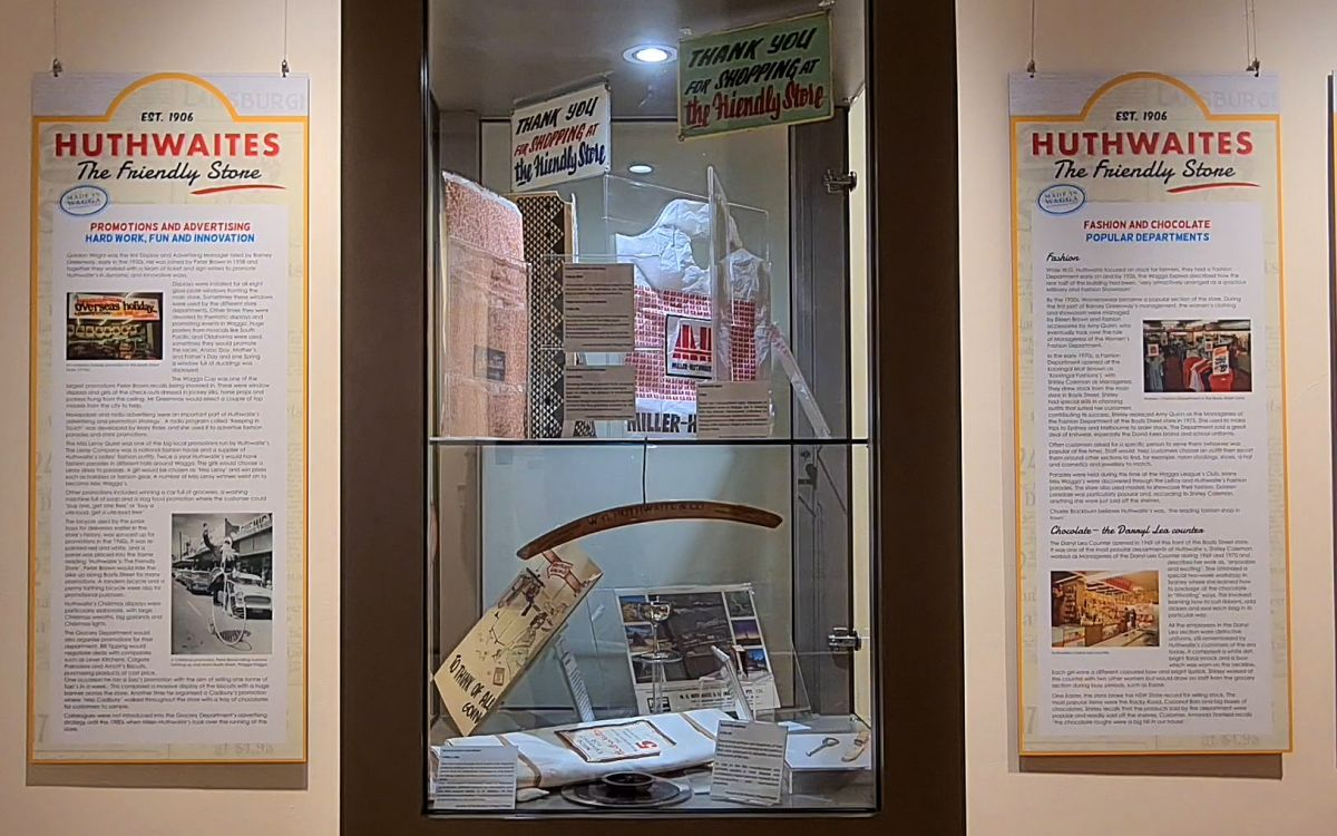 Memorabilia and signage for Huthwaites Exhibition