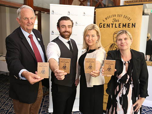 Launching the Reflect Respect campaign this week were (from left) Wagga Mayor Cr Greg Conkey OAM, Adam Rowland who features in the campaign's advertising material, vice president of Wagga Women's Health Centre Genevieve Fleming and Council Director Community Janice Summerhayes.