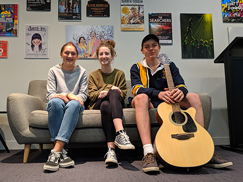 Young local musicians Ellie, Jaime and Jack