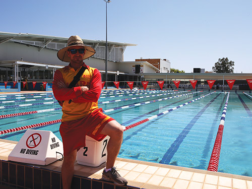 Oasis Regional Aquatic Centre lifeguard Phil Stone on duty at the pool this week.