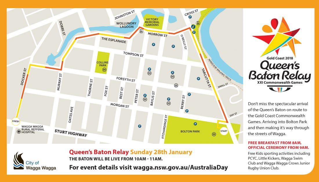 Queen's Baton Relay route through Wagga Wagga
