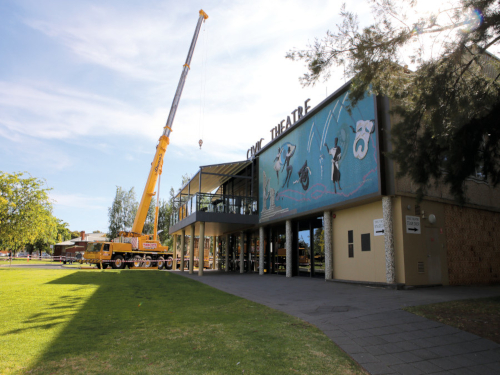 A 130-tonne crane assisted with the heavy lifting at the Wagga Wagga Civic Theatre.
