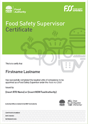Food Safety Supervisor Certificate Example
