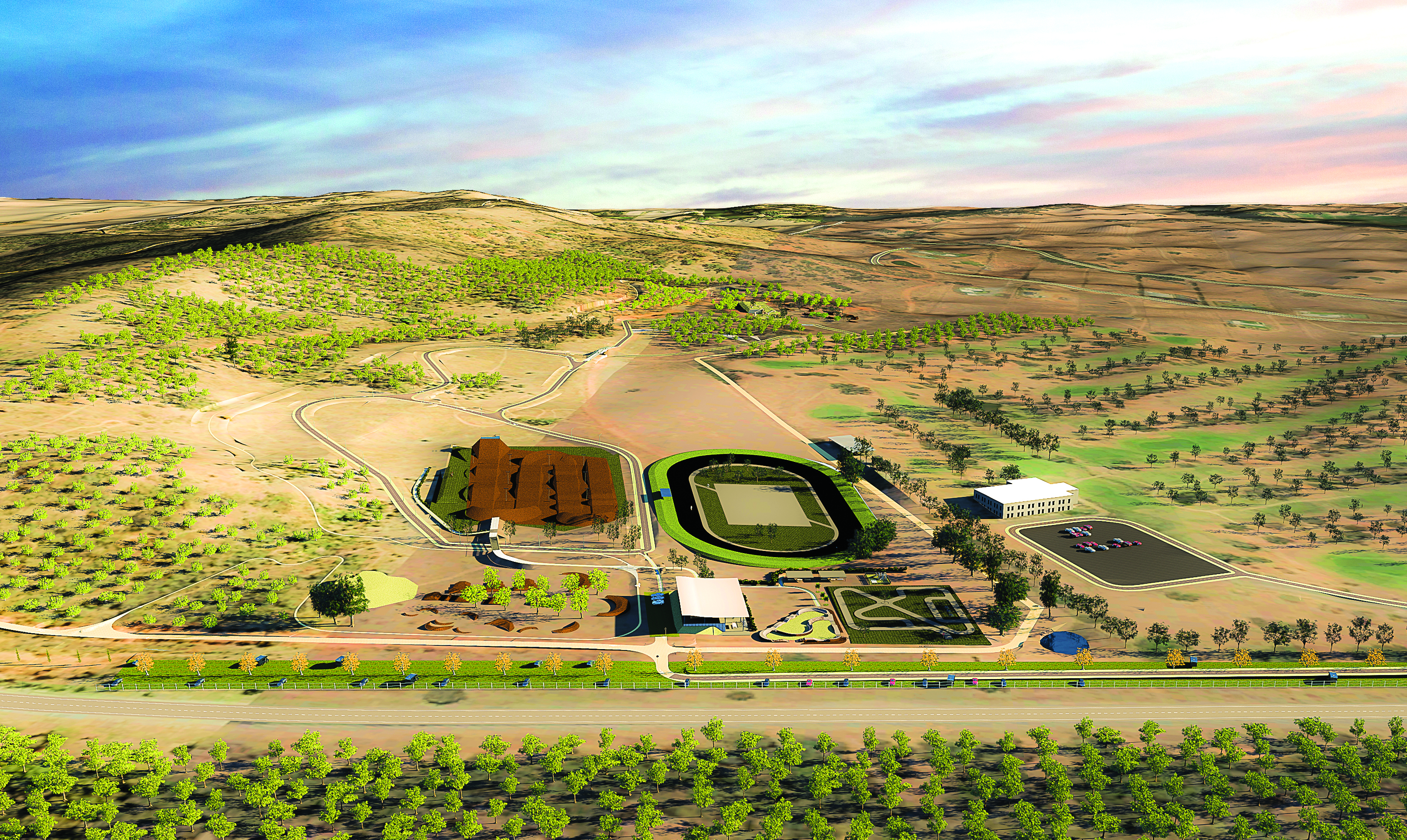 Design concept for the Wagga Wagga Multisport Cycling Complex at Pomingalarna.
